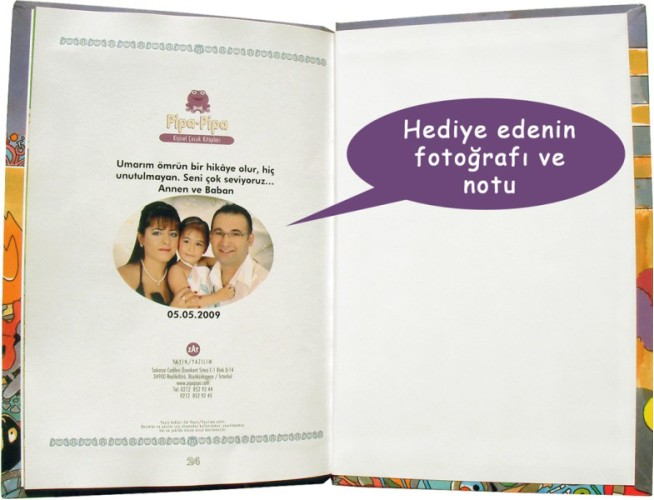 Kişiye özel çocuk kitaplarının son sayfasında, kahramanına hitaben notunuz ve hediye edenin fotoğrafı yer alır